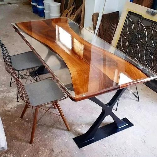Resina Epoxi Cristal Média: Mesa Madeira River Table 1,45 Kg Original
