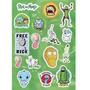Cartela Kit Com 15 Stickers Tv Serie Rick Morty And