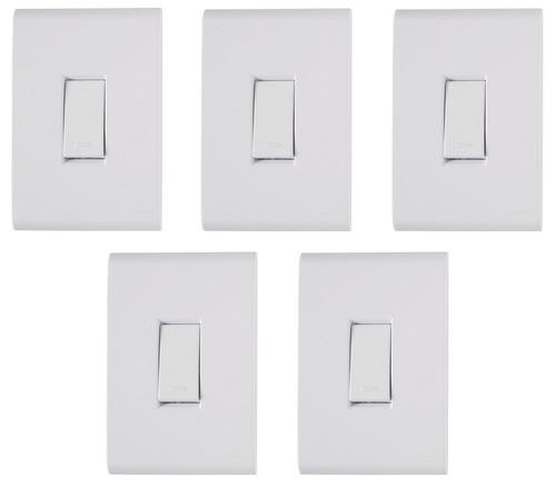 5 Conjunto Tramontina Liz Placa 4x2 + Interruptor Simples Original