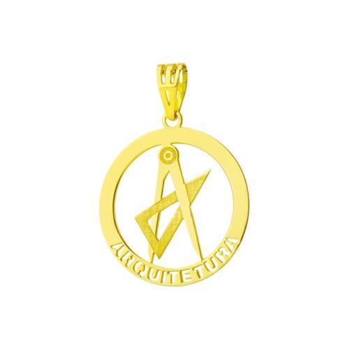 Pingente De Ouro 18k De Formatura Com Símbolo De Arquitetura