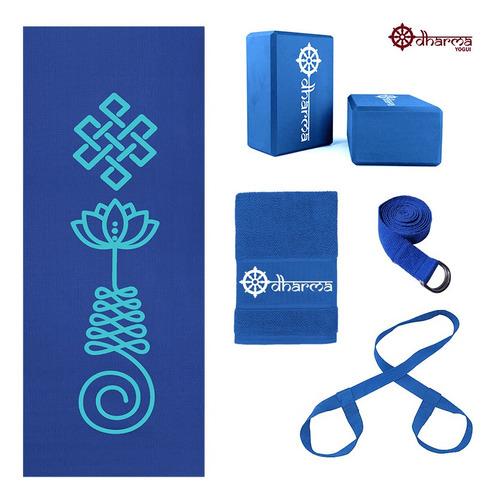 Kit Yoga Azul Premium Unalome+alça+cinto+2 Blocos+toalhinha