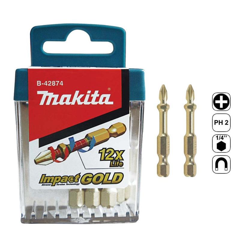 Conjunto de 10 Bits de Torção PH2 x 50mm Impact Gold - B-42874 - Makita