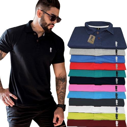 Kit 8 Camisa Polo Marine Gola Polos Masculina Camiseta Original