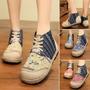 Mulheres Vintage Algodão Linho Sapatos Floral Bordados Contr