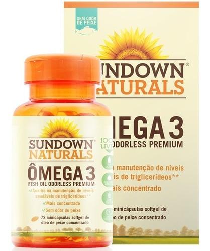 Omega 3 Odorless Sem Cheiro Sundown 72 Cápsulas Importado Original