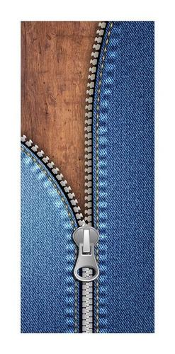 Adesivo Decorativo De Porta - Zíper - Jeans - 046mlpt Original
