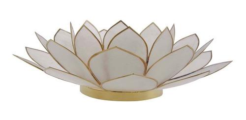 Suporte Flor Lotus P/ Vela Madrepérola Branco 8x25x25cm Original