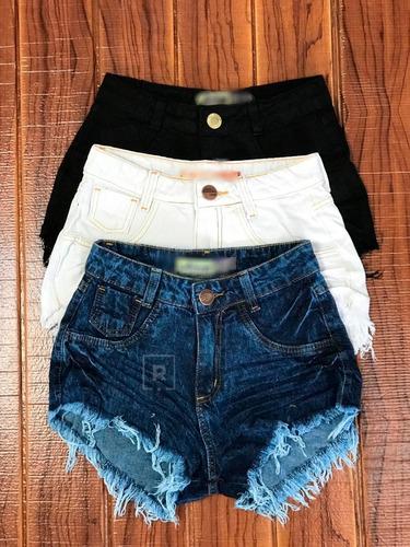 Short Jeans Cintura Alta Feminino Desfiado Roupas Femininas Original