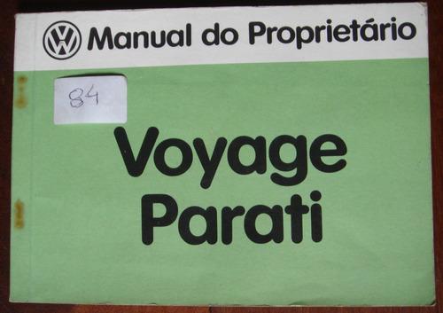 Manual Do Propietário Do Voyage E Parati 1983 Original
