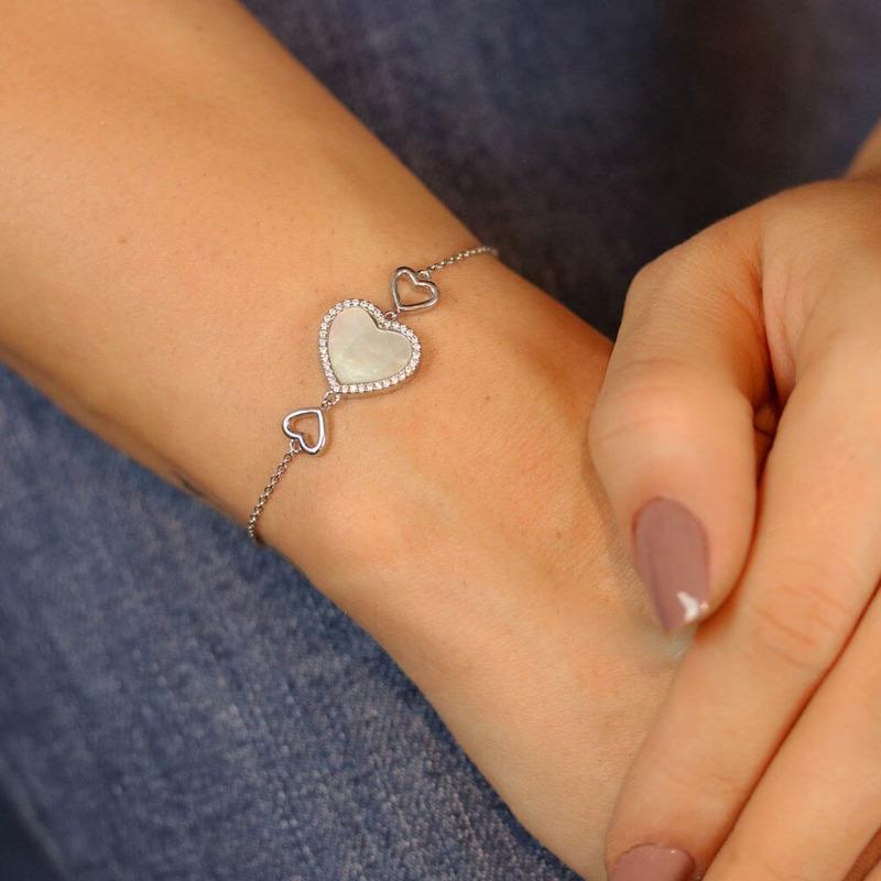 Pulseira prata 925 coração madre pérola - PL040043
