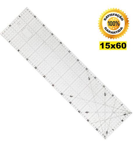Régua Corte 15x60cm 3mm Patchwork Cartonagem Scrapbook. Original