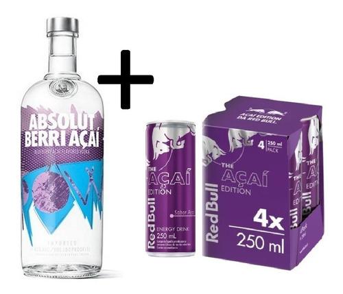 Vodka Absolut Berri Açaí 1l + 4 Un Energético Açaí C/  Original