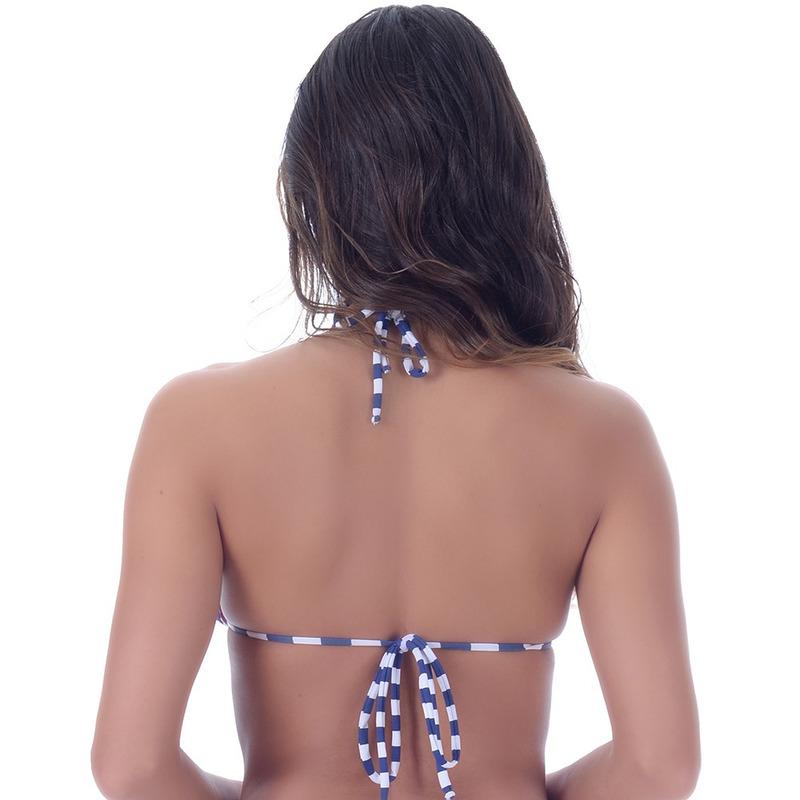 Top Summer Soul Cortininha Com Bojo Removível Listrado Azul Marinho e Branco