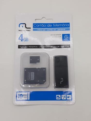 Cartão De Memória Microsd 4gb - C/  Adap. Usb - 5 Und. Original