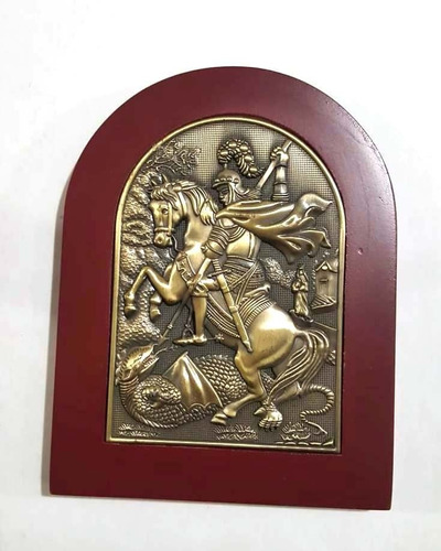 Imagem Adorno Placa São Jorge Madeira E Bronze 15cm Mesa Original
