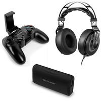 Kit Controle Gamer Sem Fio Fone de Ouvido Headphone Almofadado e Carregador Portátil 4500 mAh Multil