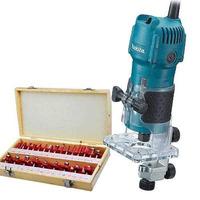 "Kit Tupia 6mm 1/4"" 530 Watts 3709 220V Makita + Kit de 24 Fresas para Madeira Haste de 1/4"" CQT024"
