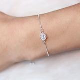 Pulseira prata 925 olho grego regulável - PL040054