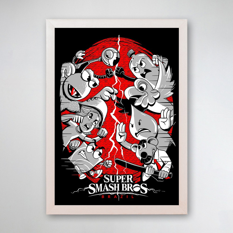 PÔSTER COM MOLDURA - SUPER SMASH BROS