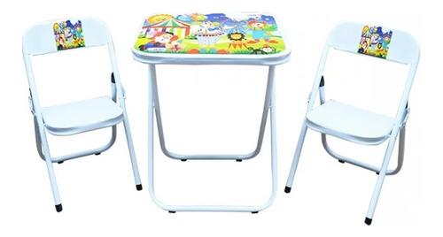 Conjunto De Mesa Infantil C/ 2 Cadeiras Dobrável Branco 003 Original