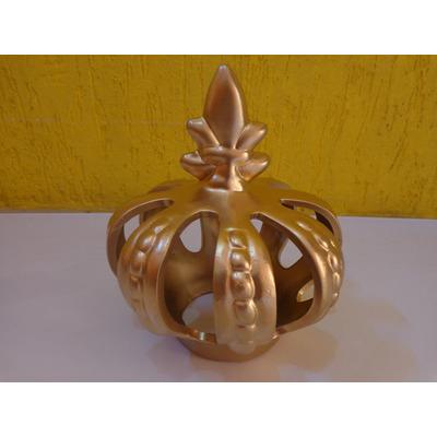 Comprar coroa decorativa cer mica dourada grande festas for Ceramica decorativa pared