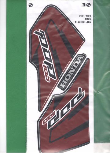 Kit Adesivos Honda Pop 100 2012 Roxa Original