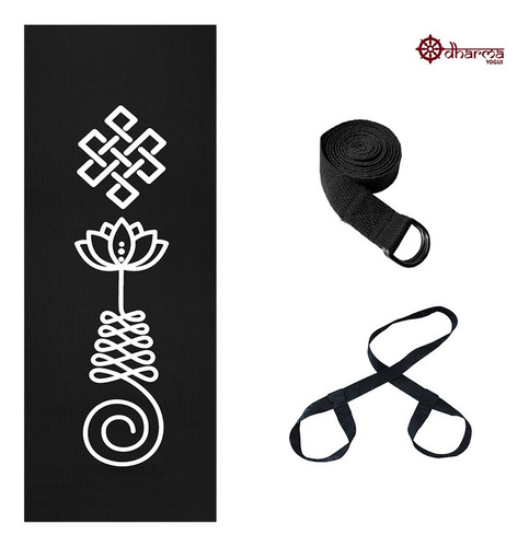 Kit Yoga Black Premium Unalome + Alça + Cinto De Alongamento