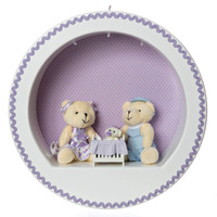 Nicho 3 Leds Família Urso Lilás