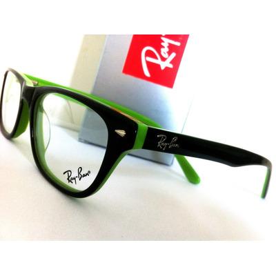 1cb6cc0cbd250 Armação Oculos De Grau Rb5152 Wayfarer Preto E Verde Rayban