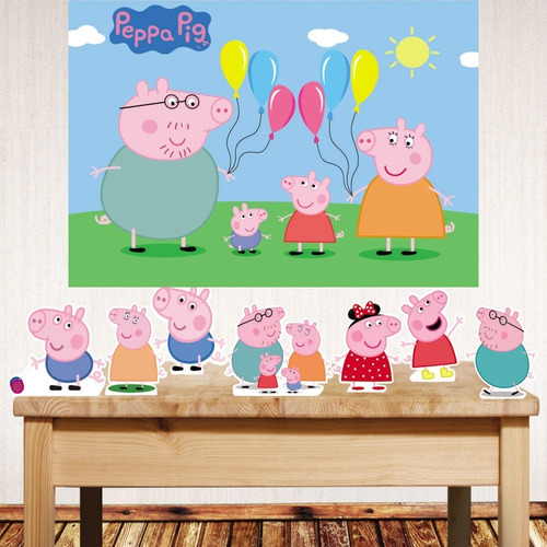 Kit Displays De Mesa + Painel De Festa Peppa Pig Original