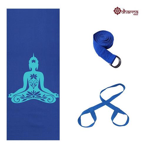 Kit Yoga Azul Premium Buda + Alça + Cinto De Alongamento