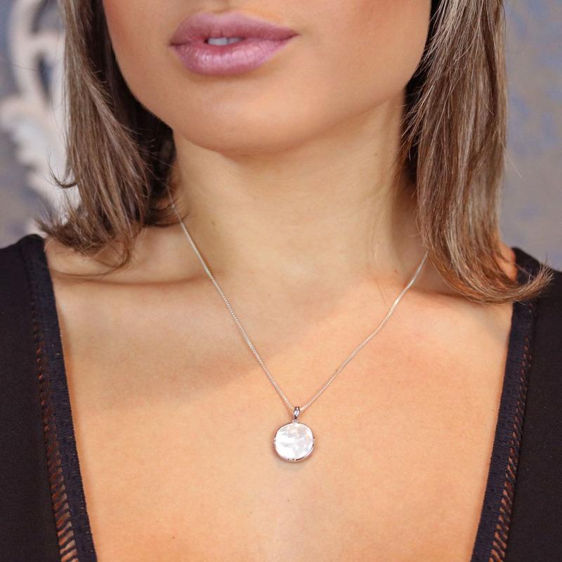 Pingente Prata 925 flor e madre pérola- PG00001