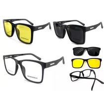 c08f805c5 Armação Oculos Grau Sol Masculino Quadrado Fosco 2 Clip On