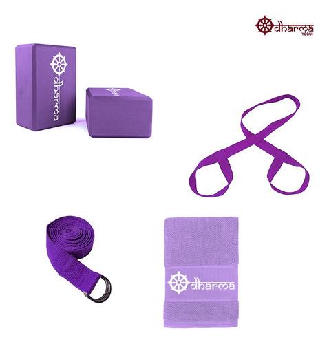 Kit Acessórios Props Yoga E Pilates Roxo