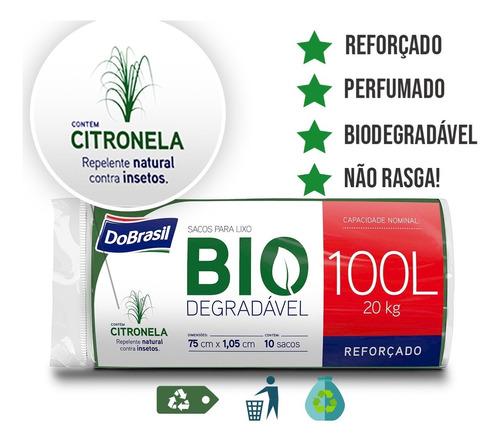 Saco De Lixo Biodegradável 10 Unidades 100 Lts Perfume Original