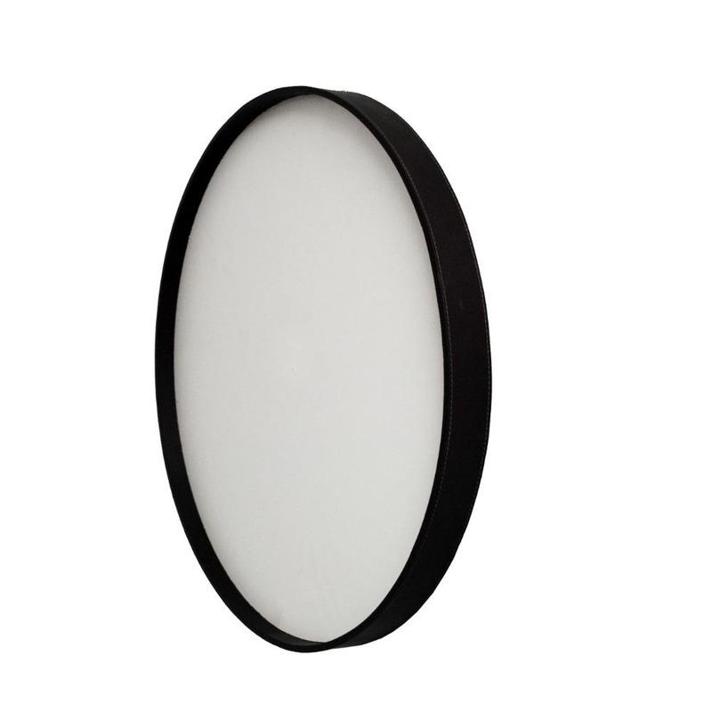 Espelho Papeete Oruy com Moldura em Couro Legítimo 75cm