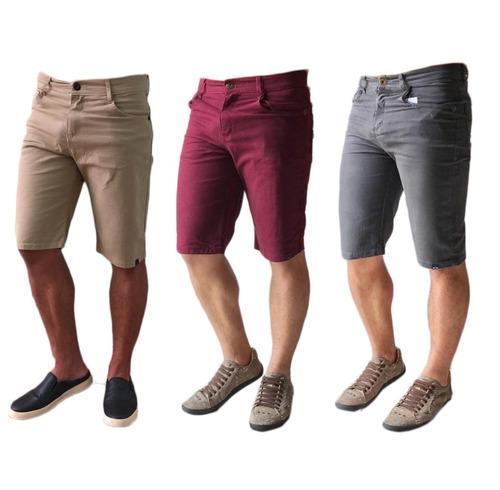 Kit 3 Bermuda Masculina Sarja Jeans Coloridas Brim Slim Original