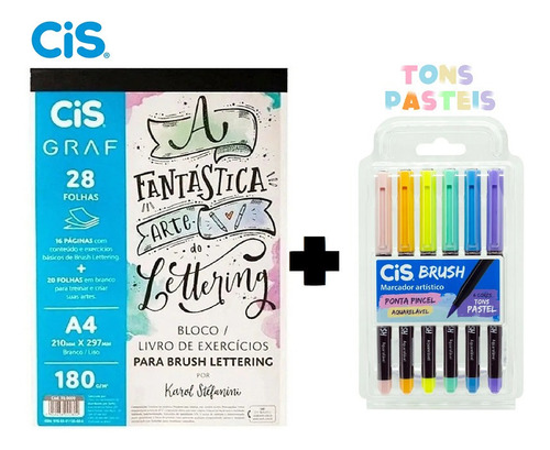 Bloco Livro De Exercícios Para Lettering+brush Tons Pastel Original
