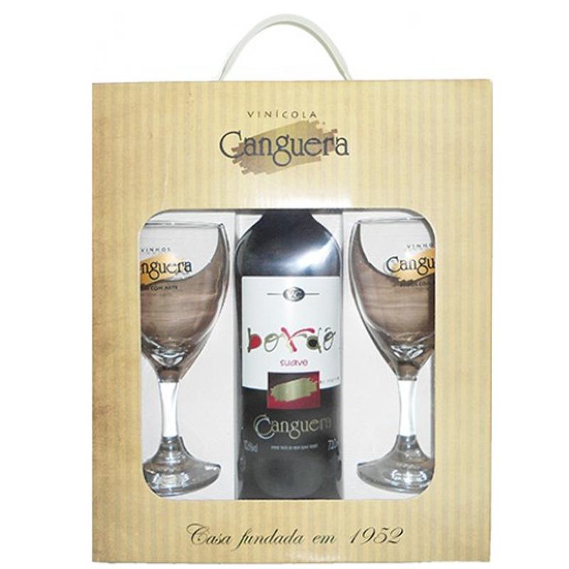 Kit Vinho Bordô com 2 taças e embalagem presente - Canguera