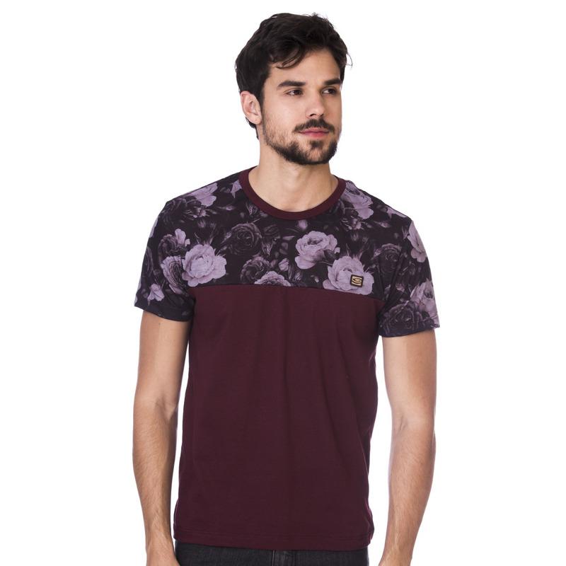 Camiseta Long Island Floral Bordô