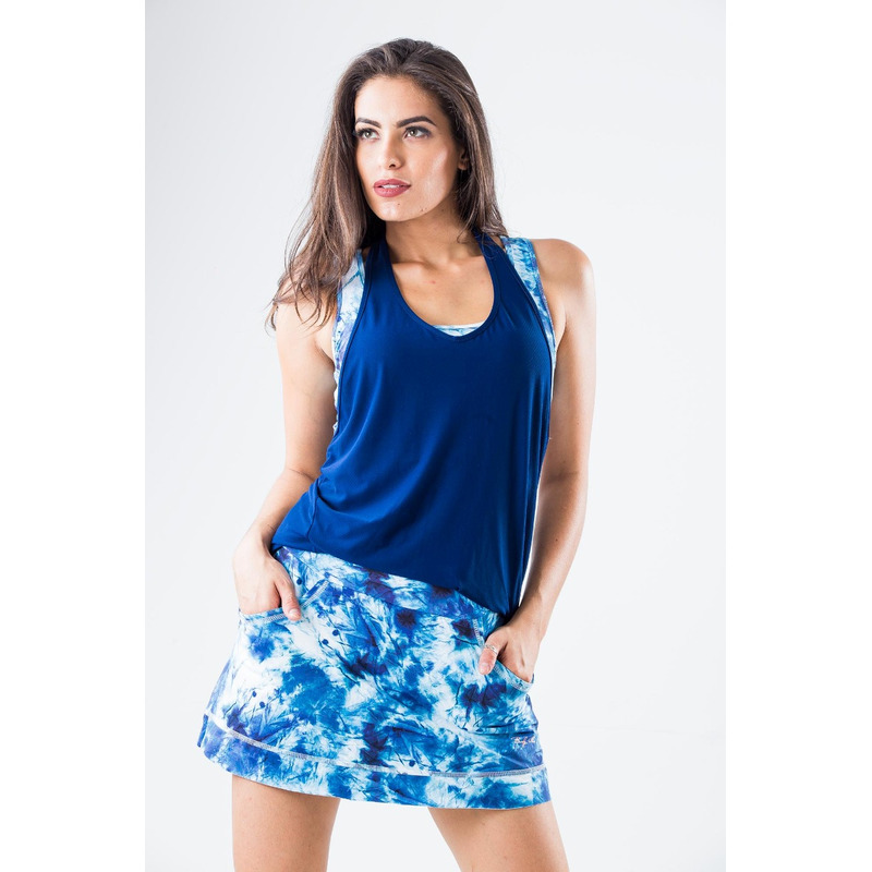 Saia Shorts Bolso Localizada Amassado Azul