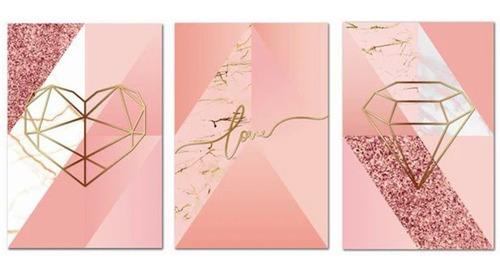Kit Placas Quadros Decorativos 3 Peças 20x30 Mdf Formas Rosa Original