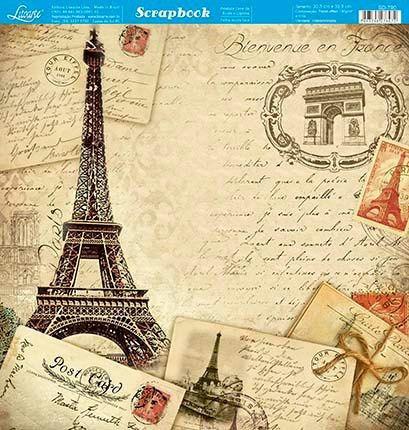 Papel Scrapbook Sd-790 Dupla Face Paris França 30,5 Litoarte Original