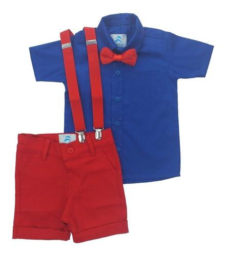 Conjunto Infantil Camisa Azul Royal
