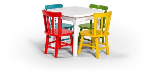 Conjunto De Mesa Infantil 60x60 Com 4 Cadeiras Original