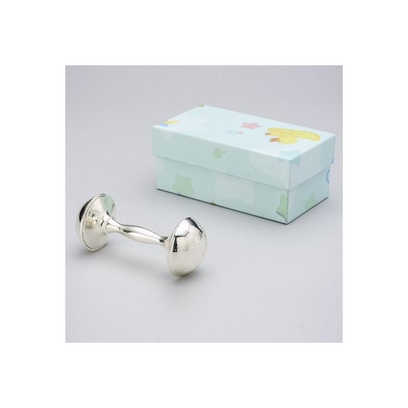 Chocalho presente para bebê em Silver Plated 4,5x4,5x10,5cm - Prestige