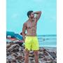 Kit 10 Shorts Neon Verde Marca Texto De Praia Fluorecente