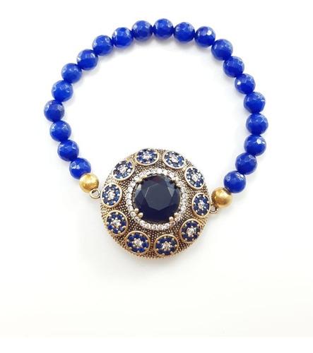 Pulseira Feminina Prata Turca 925 Fio Silicone Azul Original