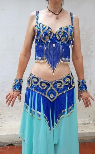 Roupa De Dança Do Ventre Azul Marinho Original