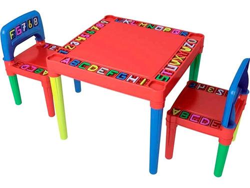 Mesa / Mesinha Infantil 2 Cadeiras Plástica Educativo Tritec Original